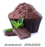 Chocolate Muffin Isolated On...