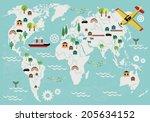 cartoon world map | Shutterstock .eps vector #205634152