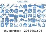 car service blue color icons...
