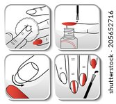 beautiful vector red manicure... | Shutterstock .eps vector #205652716