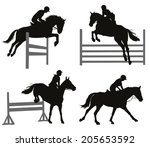 Stock vector horses jumping a hurdle vector silhouettes set eps 205653592