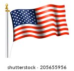 american flag on flag pole  ... | Shutterstock . vector #205655956