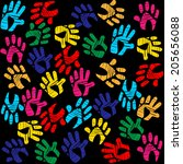 background handprints showing... | Shutterstock . vector #205656088