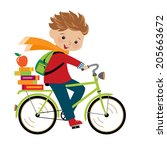 happy boy going to school by...   Shutterstock .eps vector #205663672