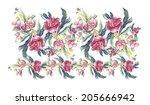pink peonies garland.... | Shutterstock . vector #205666942
