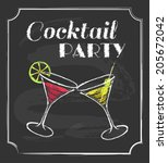 vintage cocktail party poster.... | Shutterstock .eps vector #205672042