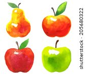 Vector Watercolor Set Of Fruit...