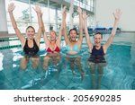 female fitness class doing aqua ... | Shutterstock . vector #205690285