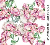 seamless pattern pink roses on... | Shutterstock . vector #205694716
