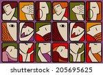 abstract set of avatars | Shutterstock . vector #205695625