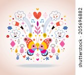 butterfly  clouds  flowers ... | Shutterstock . vector #205696882