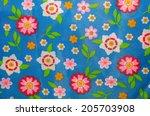 print fabric with many flowers | Shutterstock . vector #205703908