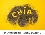 glass bowl and spoon with chia... | Shutterstock . vector #2057103842