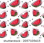 watermelon vector seamless...   Shutterstock .eps vector #2057105615