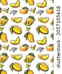 seamless pattern with mango....   Shutterstock .eps vector #2057105618