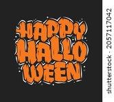 happy halloween text  halloween ... | Shutterstock .eps vector #2057117042