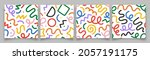 set of fun colorful line doodle ...   Shutterstock .eps vector #2057191175