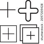 plus mark outline black  white...