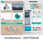 one page flat website design ... | Shutterstock .eps vector #205720618