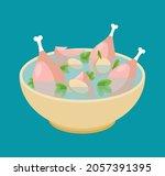 chicken soup isolated. liquid...   Shutterstock .eps vector #2057391395
