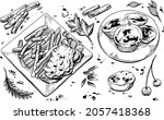 black and white hand drawn set...   Shutterstock .eps vector #2057418368