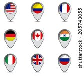 a set of pins with some flags... | Shutterstock .eps vector #205743055