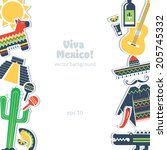 mexico background culture... | Shutterstock .eps vector #205745332
