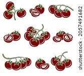 tomato set. collection icon...   Shutterstock .eps vector #2057491682