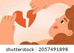 woman with broken heart.... | Shutterstock .eps vector #2057491898