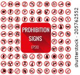 prohibition signs vecter set on ... | Shutterstock .eps vector #205762552