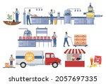 potato chips production...   Shutterstock .eps vector #2057697335