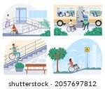 people in wheelchairs moving... | Shutterstock .eps vector #2057697812