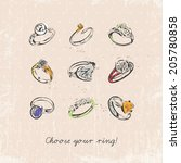 ring set with precious stones....   Shutterstock .eps vector #205780858