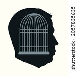 iron cage in form of man face.... | Shutterstock .eps vector #2057835635