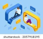 isometric social network... | Shutterstock .eps vector #2057918195