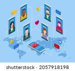 isometric social network... | Shutterstock .eps vector #2057918198