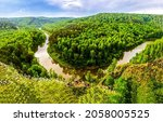 Small photo of Bend of the river in the forest. Forest river bend. Forest river top view landscape