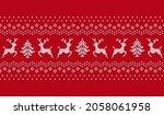 christmas seamless pattern. red ... | Shutterstock .eps vector #2058061958
