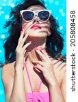colorful summer portrait of... | Shutterstock . vector #205808458