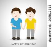 cute little boys holding hands... | Shutterstock .eps vector #205813918