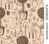 garden retro pattern.  seamless ... | Shutterstock .eps vector #205820476