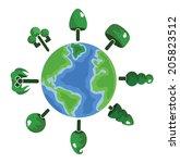 cartoon tree icon on the earth | Shutterstock .eps vector #205823512
