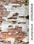 Old Chipped Brick Wall With...
