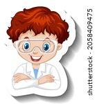 portrait of a boy in science...   Shutterstock .eps vector #2058409475