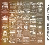 mega set of thin line vintage... | Shutterstock .eps vector #205849072