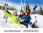 happy family with hands up... | Shutterstock . vector #205856452