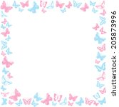 Butterfly Border Pink And Blue