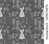 vintage seamless pattern  ... | Shutterstock . vector #205879876