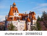 red roofs of bran castle ... | Shutterstock . vector #205885012
