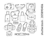 vector set of sketch bags....   Shutterstock .eps vector #205890406